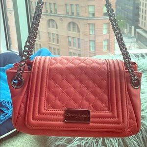 Red leather Christian Lacroix bag